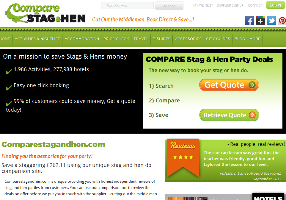 The Stag and Hen Comparison Site bt Comparestagandhen.com
